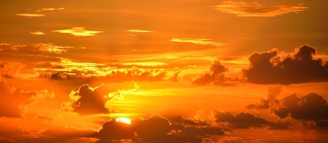 západ slunce, mraky