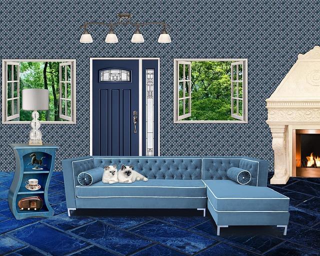 modrý pokoj, rohová sedačka, kočky