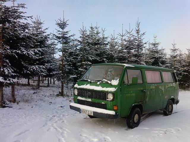 dodávka na sněhu
